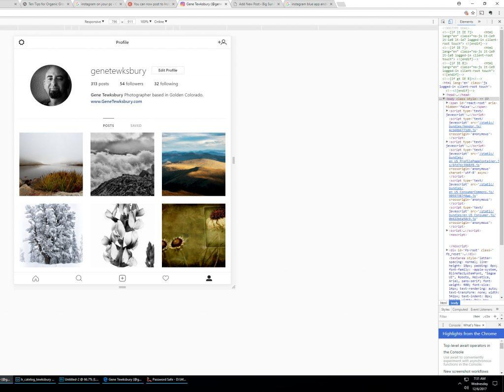 Post on Instagram through chrome desktop browser