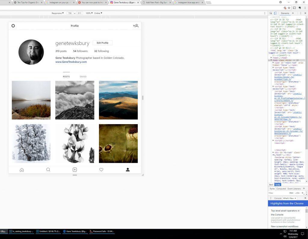 Post on Instagram through chrome desktop browser